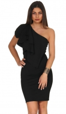 One-Shoulder-Minikleid mit breiter Volant-Borde in schwarz