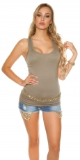 Modernes Basic Tank Top in khaki
