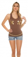 Tank Top mit X-Print in cappuccino