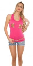 Tank Top mit X-Print in pink