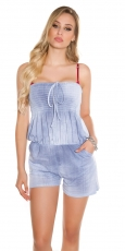 Legerer Hotpants-Overall mit Bandeau-Ausschnitt - light blue