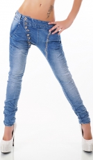 Crash-Jeans mit diagonaler Knopfleiste in light blue