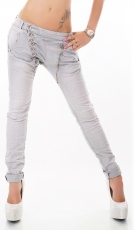Crash-Jeans mit diagonaler Knopfleiste in grey denim