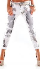 Lässige Chino-Jeans mit crazy Denim-Prints in weiß