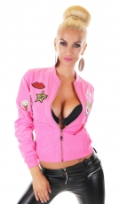Kurzjacke mit bunten Schmuck-Patches in neonpink