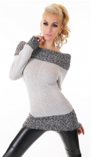 Carmen-Longpullover mit Kontrast-Kragen in light grey