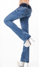 Moderne Bootcut-Jeans mit Stretch-Gürtel light blue