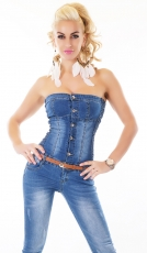 Sexy Bandeau-Overall mit Vintage-Effekten in blue washed