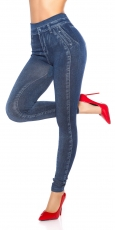 High Waist Leggings im modischen Jeans-Look - blue washed