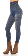 High Waist Shape Leggings im Jeans-Look - blau