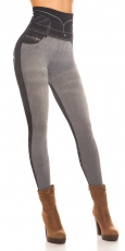 High Waist Shape Leggings im Jeans-Look - grau