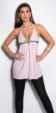 Babydoll-Longtop mit Tiger-Broschen in rosa