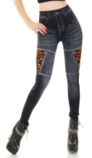 High Waist Thermo Leggings im Jeans-Look - black washed