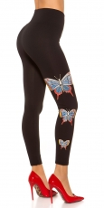 Thermo High Waist Shape Leggings mit Butterfly-Verzierung - schwarz