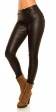 Wetlook Treggings mit Zier-Zippern in schwarz
