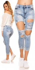Sexy High Waist Jeans im Destroyed-Look - blue washed