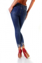 Stretch Slim Fit Jeans mit Strass-Bund - blue washed