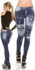 Crash-Jeans mit Zier-Zippern und Schmucknieten in bleach blue