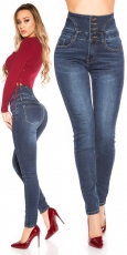 High Waist Skinny Jeans mit Elastik-Smoke-Partien in dark blue
