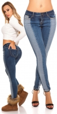 Skinny Jeans im modischen Bi-Color Design - blue washed