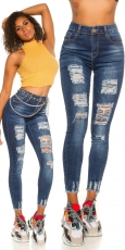 Skinny Jeans im modischen Used-Look - blue washed