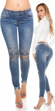 Sexy Skinny-Jeans mit Strass-Skull - blue washed