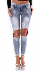 Freche Crash-Jeans mit Löchern und Prints - light blue