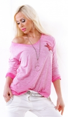 Meliertes Longsleeve mit Glamour-Stern in pink