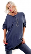 Oversize-Longbluse mit Schnürleiste - blue washed