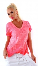Figurbetontes Shirt in Netz-Optik - coral