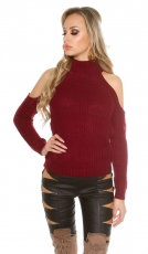 Kuscheliger Pullover mit großen Schulter Cut-Outs - bordeaux
