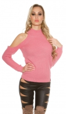 Kuscheliger Pullover mit großen Schulter Cut-Outs - rosa