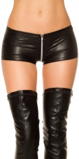 Heiße Wetlook-Hotpants mit 2-Way-Zipper in schwarz