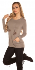 Moderner Strick-Pullover mit Hoodie in cappuccino