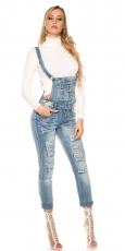 Modische Latzjeans mit Rissen in light blue