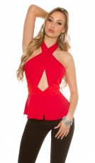 Bezauberndes Neckholder-Top mit Cut-Outs - rot