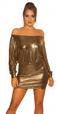 Sexy Fledermaus-Kleid im Metallic-Look - gold