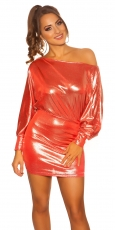 Sexy Fledermaus-Kleid im Metallic-Look - rot