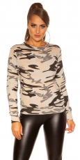 Legerer Sweat-Pullover im Armylook - camouflage
