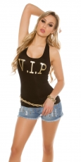 Tank Top mit V.I.P. Goldprint in schwarz