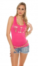 Tank Top mit V.I.P. Goldprint in pink