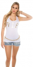 Tank Top mit V.I.P. Goldprint in weiß