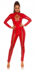 Sexy Overall im Latex-Look mit Schnürung - rot