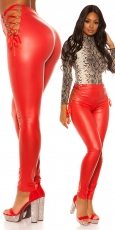 Sexy Leggings im Wetlook mit Schnürleisten in rot