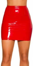 Sexy Minirock in Latex-Optik - rot