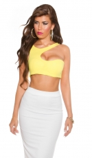 Sexy One-Shoulder-Crop-Top in gelb