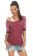 2in1 Set aus Langarmshirt und Top im Batik-Look - bordeaux