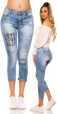 Sexy Push UP Jeans im Used-Look - blue washed