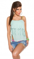Asymetrisches Chiffon-Top mit Fransen in mint