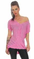 Leicht transparentes Shirt in Wickel-Optik - pink